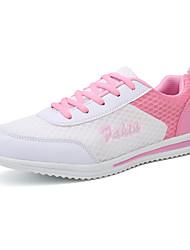 preiswerte -Damen Schuhe Atmungsaktive Mesh PU Herbst Komfort Sportschuhe Walking Rennen Flacher Absatz Runde Zehe für Sportlich Weiß Schwarz Blau