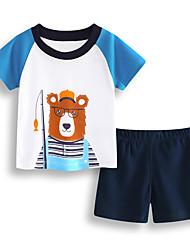 abordables -Garçon Quotidien Vacances Imprimé Ensemble de Vêtements, Coton Acrylique Printemps Eté Manches Courtes Mignon Actif Bleu