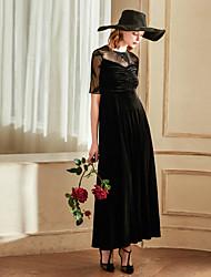 levne -Dámské Vintage A Line Šaty - Jednobarevné, Síťka Maxi
