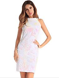 baratos -Mulheres Sofisticado Moda de Rua Bainha Vestido - Paetês Estampado, Sólido Floral Acima do Joelho