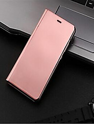cheap -Case For Huawei P9 Lite P9 Plating Mirror Flip Auto Sleep/Wake Up Full Body Cases Solid Color Hard PC for Huawei P9 Plus Huawei P9 Lite