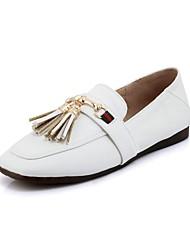 abordables -Femme Chaussures Similicuir Printemps Automne Ballerine Confort Ballerines Talon Plat Bout carré Gland pour Bureau et carrière Blanc Noir