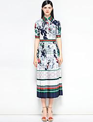 저렴한 -여성용 홀리데이 빈티지 / 스트리트 쉬크 면 슬림 스윙 드레스 - 플로럴 / 추상화 미디 셔츠 카라