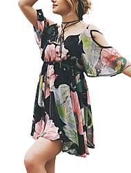 Недорогие -Жен. Пляж На выход Богемный Летучая мышь Свободный силуэт Шифон Платье - Цветочный принт, С принтом Завышенная V-образный вырез Выше