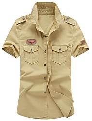 billige Herremode og tøj-Herre - Ensfarvet Broderi Basale Militær Skjorte