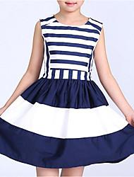 abordables -Robe Fille de Anniversaire Vacances Couleur Pleine Rayé simple Coton Polyester Sans Manches Mignon Décontracté Princesse Marine