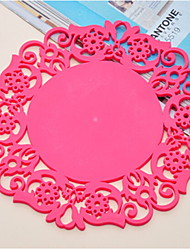 cheap -Classic Plastic Round Placemat Solid Colored Table Decorations
