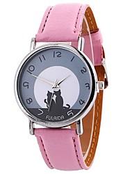 Недорогие -Жен. Модные часы Кварцевый Крупный циферблат PU Группа Аналоговый Мода минималист Черный / Белый / Синий - Зеленый Синий Розовый Один год Срок службы батареи