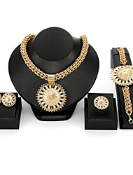 cheap -Women's Jewelry Set - Zircon, Gold Plated Statement, Oversized Include Bangles / Stud Earrings / Pendant Necklace Gold For Wedding / Evening Party / Ring