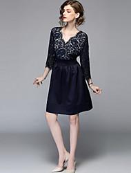 e5089876a6aa Dame Plusstørrelser I-byen-tøj Vintage   Gade A-linje Kjole - Ensfarvet