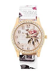 baratos -Mulheres Relógio Casual / Relógio de Moda / Simulado Diamante Relógio Chinês imitação de diamante / Mostrador Grande PU Banda Flor / Fashion Branco / Azul / Vermelho / Um ano