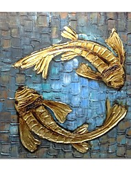 cheap -STYLEDECOR Modern Hand Painted Abstract Blue Fabric Golden Carp Oil Painting on Canvas Wall Art