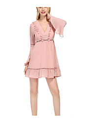 cheap -Women's Holiday Basic / Street chic Flare Sleeve Cotton Slim A Line Dress - Solid Colored Cut Out High Waist V Neck / Summer / Polka Dot