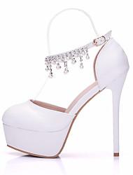 baratos -Mulheres Sapatos Couro Ecológico Primavera / Outono Plataforma Básica / Conforto Sapatos De Casamento Salto Agulha para Casamento Branco