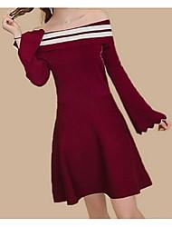 baratos -Mulheres Fofo Moda de Rua Evasê Vestido Listrado Altura dos Joelhos
