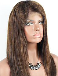 cheap -Remy Human Hair Lace Front Wig Brazilian Hair Straight Wig 130% With Baby Hair / Natural Hairline / Unprocessed Light Brown Women's Short / Long / Mid Length Human Hair Lace Wig