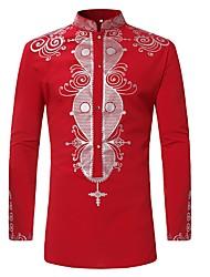 baratos -Homens Camisa Social Básico Estampado, Geométrica Colarinho Clerical