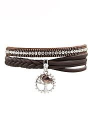 Недорогие -Жен. Кожаные браслеты - Кожа В форме листа Мода Браслеты Коричневый Назначение Подарок Повседневные