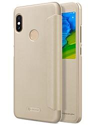 Недорогие -Кейс для Назначение Xiaomi Redmi Note 5 Pro с окошком Флип Авто Режим сна / Пробуждение Чехол Однотонный Твердый Кожа PU для Xiaomi Redmi