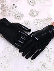 Недорогие -Искусственная кожа До запястья Перчатка Свадебные перчатки С Черно-redCubanHee