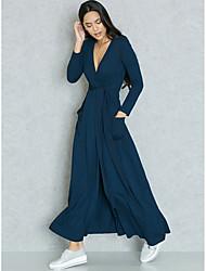 abordables -Femme Grandes Tailles Sortie Sophistiqué Chic de Rue Mince Moulante Gaine Deux Pièces Robe Couleur Pleine Taille haute V Profond Maxi Bleu
