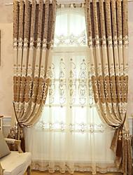 preiswerte -Gardinen Shades Wohnzimmer Solide Blumen Baumwolle / Polyester Stickerei