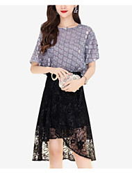 cheap -Women's A Line Dress - Solid Colored Lace Asymmetrical