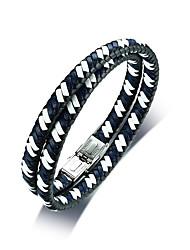 Недорогие -Муж. Кожа Cool Кожаные браслеты - На каждый день Мода Двойная спина Черный Браслеты Назначение Повседневные Школа