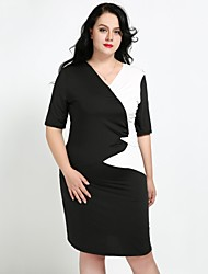cheap -Cute Ann Women's Plus Size Work Street chic Slim Bodycon Sheath T Shirt Dress - Color Block Ruched V Neck
