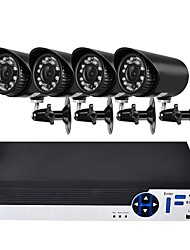 cheap -4 CH Security System with 4ch 1080N AHD DVR 4pcs 2.0MP Weatherproof Cameras with Night Vision