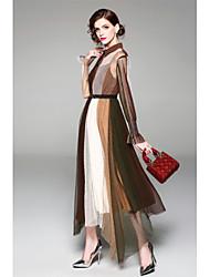 cheap -Women's Holiday Slim Sheath Chiffon Dress - Color Block Black, Patchwork Lace up Maxi Shirt Collar