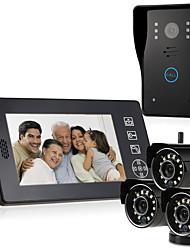 baratos -MOUNTAINONE SY818MJW-3 Sem Fio Fotografado Gravação Campainha de vídeo multifamiliar 7 Polegadas Mãos Livres 640*480Pixel