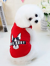 cheap -Dogs Cats Furry Small Pets Pets Vest Dog Clothes Letter & Number Cartoon Animal Gray Red Blue Pink Cotton / Polyester Costume For Pets