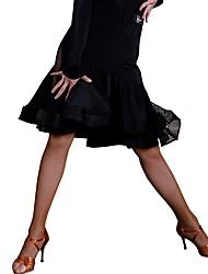 Недорогие -Латино Балетные пачки и юбки Жен. Учебный Ice Silk (искусственное волокно) Кружева Средняя талия Юбки