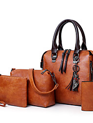 cheap -Women's Bags PU Leather Bag Set 4 Pieces Purse Set Zipper for Office & Career Red / Gray / Brown