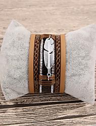 baratos -Mulheres Pulseiras de couro - Pele Formato de Folha Fashion Pulseiras Marron Para Presente / Diário
