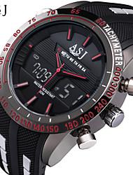 Недорогие -ASJ Муж. Спортивные часы Модные часы электронные часы Японский Цифровой Стеганная ПУ кожа Черный 30 m Защита от влаги Будильник Секундомер Аналого-цифровые Белый Красный Синий / Нержавеющая сталь