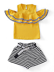 cheap -Girls' Daily Holiday Solid Colored Striped Clothing Set, Cotton Polyester Summer Short Sleeves Active Basic White Yellow