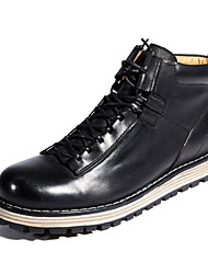 cheap -Men's Combat Boots Nappa Leather / Cowhide Fall / Winter Boots Booties / Ankle Boots Black / Red