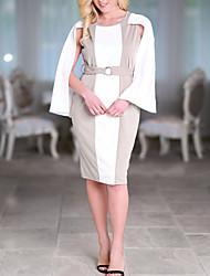 cheap -Women's Slim Bodycon Dress - Color Block High Waist