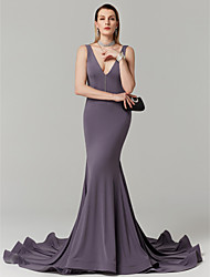 cheap -Mermaid / Trumpet Plunging Neck Court Train Jersey Open Back Cocktail Party / Prom / Formal Evening Dress with Pleats by TS Couture®