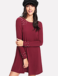 cheap -Women's Cotton Sheath Dress - Solid Colored Beaded