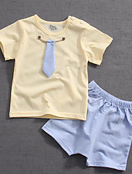 cheap -Baby Unisex Solid Colored Short Sleeves Clothing Set