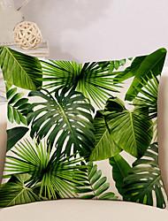 abordables -1 pcs Coton / Lin Housse de coussin / Nouveaux Oreillers / Taie d'oreiller, arbres / Feuilles / Nouveauté / Mode Tropical / Pastoral