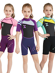 cheap -Girls' Shorty Wetsuit 2mm SCR Neoprene Diving Suit High Elasticity Short Sleeve Patchwork Spring / Summer