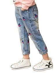 preiswerte -Kinder Mädchen Aktiv Festtage Blumen Druck Baumwolle Jeans / Niedlich