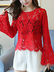 cheap -Women's Contemporary Blouse - Solid Color / Lace / Flare Sleeve