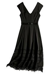 abordables -Mujer Pequeño Negro Vestido Un Color Midi Hombros Caídos