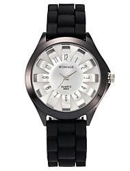 Недорогие -Жен. Кварцевый Модные часы Повседневные часы Китайский Повседневные часы силиконовый Группа На каждый день Мода Черный Белый Синий