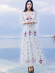 abordables -Femme Mince Balançoire Robe Fleur Col en V Maxi / Eté